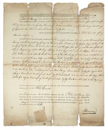 HENRY, PATRICK. Partly-printed Document Signed, P.Henry, as Governor,