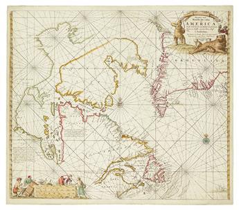 (ARCTIC.) Keulen, Johannes van. Pas-kaart vande Noorder Zee custen van America.