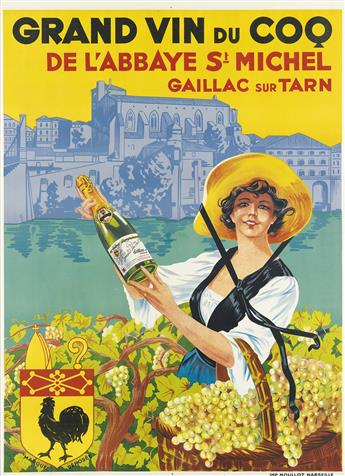 DESIGNER UNKNOWN. GRAND VIN DU COQ / DE LABBAYE ST MICHEL. Circa 1910. 61x44 inches, 155x113 cm. Moullot, Marseille.