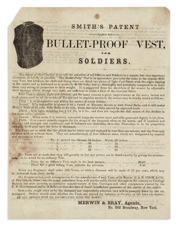 (CIVIL WAR.) Smiths Patent (Applied for) Bullet-Proof Vest, for Soldiers.