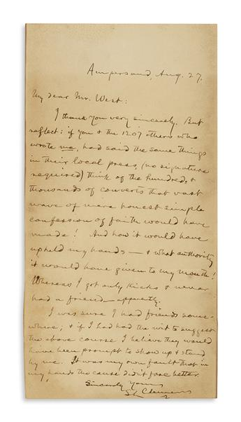 TWAIN, MARK. Autograph Letter Signed, SL Clemens, to My dear Mr. West,
