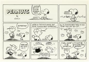 (CARTOON) CHARLES SCHULZ. I suppose hes out playing baseball again . . .