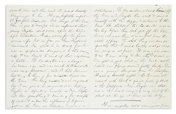 (TEXAS.) Grierson, Robert K. Letter offering a graphic description of a fatal train station gunfight.