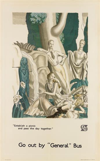 JEAN DUPAS (1882-1964). GO OUT BY GENERAL BUS. 1933. 40x25 inches, 101x63 cm. Johnson, Riddle & Co. Ltd., London.