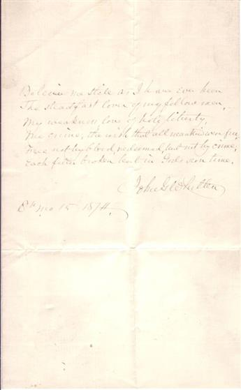 WHITTIER, JOHN GREENLEAF. Autograph Poem dated and Signed, JohnGWhittier, his complete 6-line poem,