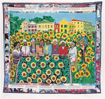 FAITH RINGGOLD (1930 -   ) The Sunflower Quilting Bee at Arles.