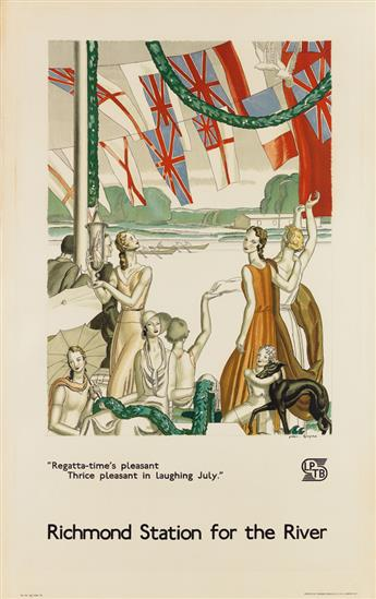 JEAN DUPAS (1882-1964). RICHMOND STATION FOR THE RIVER. 1933. 40x25 inches, 101x63 cm. Johnson, Riddle & Co. Ltd., London.