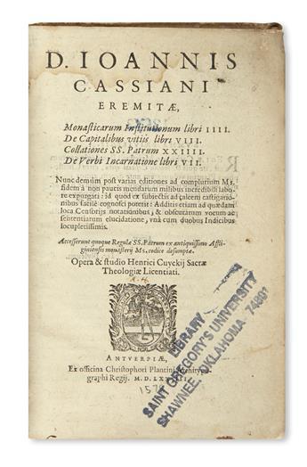 CASSIANUS, JOANNES. Monasticarum Institutionum libri IIII.  1578