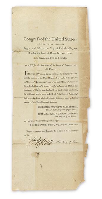 (VERMONT.) JEFFERSON, THOMAS. Printed Document Signed, Th:Jefferson, as Secretary of State,