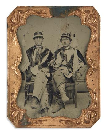 (PRESIDENTS--1868 CAMPAIGN.) Portrait of two uniformed Grant-Colfax supporters.
