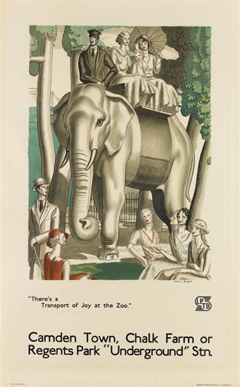 JEAN DUPAS (1882-1964). CAMDEN TOWN, CHALK FARM OR REGENTS PARK UNDERGROUND STN. 1933. 40x25 inches, 101x63 cm. Johnson, Riddle & Co.
