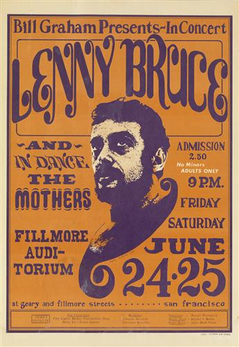 WES WILSON (1937- ). LENNY BRUCE / FILLMORE AUDITORIUM. 1966. 20x14 inches, 51x36 cm.