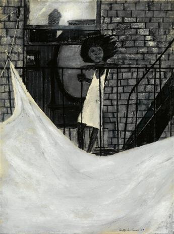 WALTER WILLIAMS (1920 - 1988) Untitled (Girl on a Fire Escape).