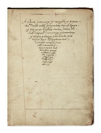 MANUSCRIPT.  Pigott, Susan.  A shorte sumanary [sic] of . . . youre ma[jes]ties most noble progenitors.  Manuscript in English on paper