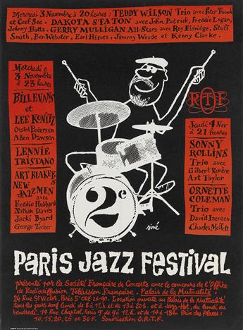 SINÉ (MAURICE SINET, 1928-2016). PARIS JAZZ FESTIVAL. 1965. 22x16 inches, 57x42 cm. Ador 22, Paris.