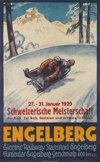 OTTO ERNST (1884-1967). ENGELBERG / SCHWEIZERISCHE MEISTERSCHAFT. Circa 1925. 40x25 inches, 102x64 cm. A. Trüb & Cie., Aarau.