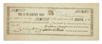 (MORMONS.) Nauvoo Legion Association stock certificate signed by Brigham Young.