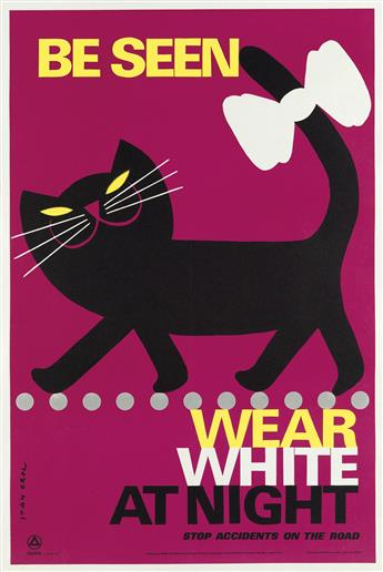 STAN KROL (1910-1985). BE SEEN / WEAR WHITE AT NIGHT. Circa 1967. 29x20 inches, 75x50 cm. Loxley Brothers Limited, London.