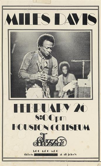 DESIGNER UNKNOWN. MILES DAVIS / HOUSTON COLISEUM. Handbill. 1973. 14x9 inches, 36x23 cm.