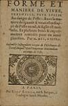 NOSTRADAMUS, MICHEL DE.  1598-1603?  Forme et maniere de vivre, tres-utile, pour eviter Au danger de Peste.  Unrecorded edition.