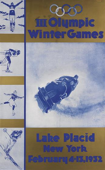 DESIGNER UNKNOWN. III OLYMPIC WINTER GAMES / LAKE PLACID. 1932. 40x24 inches, 101x63 cm.